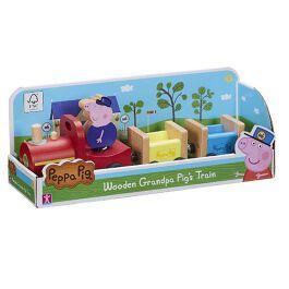 Peppa Pig - Treno di PAPY Pig in Legno e 1 Personaggio