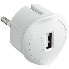 Adattatore Presa USB da 1,5A con Presa Maschio Tedesca -Bianco-