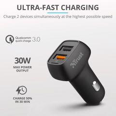 ALIMENTATORE AUTO 2 USB 30W FAST Q3 Qmax 30W Ultra-Fast Dual USB Car Charger with QC3.0